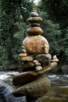 Stone towers stacking rocks as art sculptures