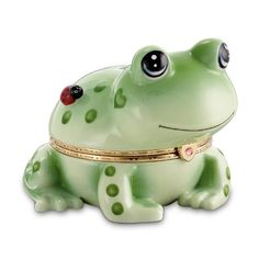 Hoppy Frog Heirloom Porcelain Animoges Music Box by The Bradford Exchange >>> Review more details @…