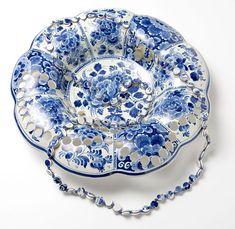 Antique Ceramic Dinnerware Punctured into Pieces of Wearable Art by Gésine Hackenberg Antique Ceramic Dinnerware Punctured into Pieces of Wearable Art by Gesine Hackenberg Blue Pottery, Vintage Plates, Plates And Bowls, Schmuck Design, Ceramic Jewelry, Modern Ceramics, Ceramic Artists, Ceramic Plates, Wearable Art