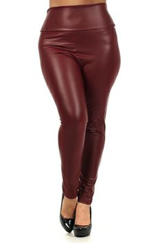 Burgundy High Waist Leggings Size: 2X remaining(recommends going up one size.  Would go perfect with Burgundy Peplum Top  www.shesgotabigego.com