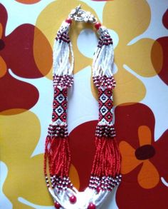Ethno necklace bead necklace multi beaded necklace bead red