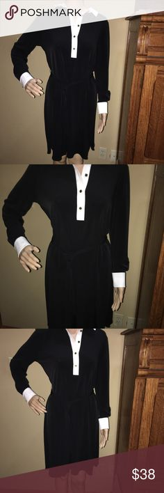 Ivanka Trump black collared dress; Sz medium Excellent condition-Ivanka  Trump black & white collared dress with dash belt, buttons down front and sleeves -size medium Ivanka Trump Dresses