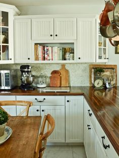 MMS DIY on Butcher-Block Countertops.White Cottage Kitchen With Butcher-Block Countertops Farmhouse Kitchen Cabinets, Kitchen Redo, Rustic Kitchen, New Kitchen, Kitchen Backsplash, Kitchen Cupboards, Kitchen Country, Kitchen White, Backsplash Ideas