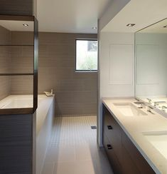 Cute Master bathroom rectangular wall tiles dark cabinets light counter tops