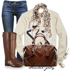 """""""Deco Scarf & Tory Burch Riding boots"""" by sanchez-gaby on Polyvore"""