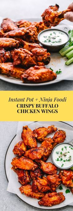 Incredible!  You can cook this in an instant pot, ninja foodi or oven. The crispy chicken wings tossed in a classic buffalo sauce. A delicious restaurant-style buffalo chicken wings recipe that is made without deep-frying. The wings are so crispy and less greasy, too. #instantpot #ninjafoodi #chickenwings #instantpotchickenwings #buffalosauce #gamedayfood #appetizer