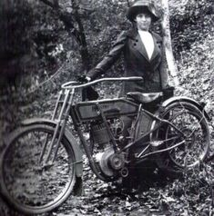Clara Wagner with the first motorcycle designed specifically for a woman -- made 100 years ago, only a few years after Indian Motorcycles and Harley-Davidson manufactured their first models. Clara owned that motorcycle, and was the first woman issued a membership in the Federation of American Motorcyclists, the first organized motorcycle club in America.