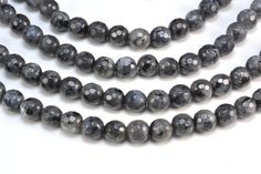 black labradorite faceted beads - natural black gemstone beads - black beads for neckalce making - faceted round beads -4-12mm -15 inch