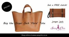 Pick of the Day: The *NEW* Jinger Jack 'Flora' Tote. Buy this gorgeous genuine leather handbag and get a free Jinger Jack Vancouver clutch! http://www.sassychic.co.za/a-z-designers/Jinger-Jack/jinger-jack-flora-classic-tote-with-free-clutch-tan #handbags #leatherhandbags #genuineleather #jingerjack #tan #tanleather #accessories