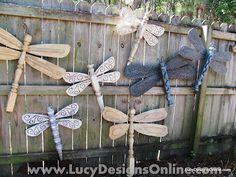 """""""Fan""""tastic (i know harhardyhar) fan blade and table leg dragonfly yard art"""
