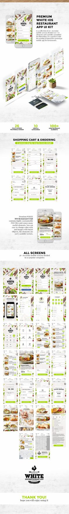 Super high-quality pack of 26 mobile IOS screen ready to use in your amazing project.UI KIT is a collection of awesome mobile screens divided UI Elements and carefully assembled for Photoshop. Restaurant App, White Restaurant, Visual Hierarchy, Ui Elements, Vector Shapes, Ui Kit, Stress Free, Ios App, User Interface
