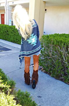 long cardigan, jean shorts, sweater, fashion, boot, tribal cardigan, redneck outfit, tribal prints, fringe outfit