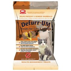 $3.99 Defurr-UM, a hairball remedy, consists of a tasty cream filling in a flavored cereal shell. Frequent grooming and routine taking of Defurr-UM treats can prevent furballs. Treat your cat with a treat! 1.4 ounce package - 50 count. Directions: To Remove Furball in Adult Cats - 2 treats once a day until removed, Kittens - 1 treat once a day until removed. To Avert Furball in Adult Cats - 1 tre ...