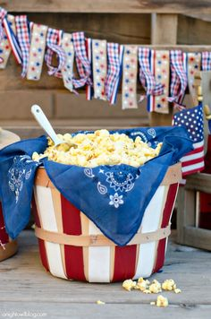 DIY Red and White Popcorn Baskets