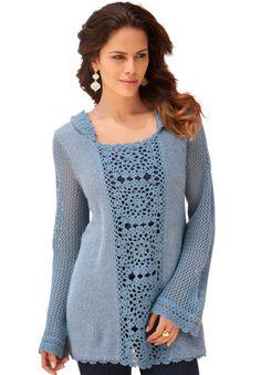 Crochet Hooded Sweater by Denim 24/7®