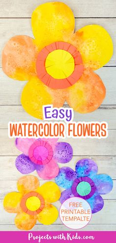 These easy watercolor flowers are a fun and colorful art project for kids of all ages! An excellent beginner watercolor project using easy techniques. Free printable template included. Spring Arts And Crafts, Spring Art Projects, Clay Art Projects, Craft Projects For Kids, Arts And Crafts Projects, Watercolor Projects, Easy Watercolor, Watercolor Flowers, Watercolor Paper