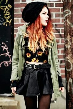 I love the trench coat and flower crop top in this picture!