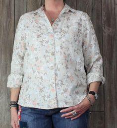 LL Bean Blouse M size Beige Pink Floral Linen Top Womens Career Casual Shirt