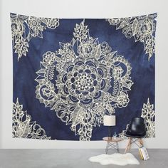 Buy Cream Floral Moroccan Pattern on Deep Indigo Ink Wall Tapestry by micklyn. Worldwide shipping available at Society6.com. Just one of millions of high quality products available.
