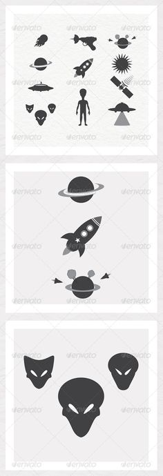 Outer Space Silhouette Pack  #GraphicRiver         Outer Space Silhouette Pack contains 13 silhouettes varying from aliens to spaceships.   Technical Information:  CMYK 300dpi for print and web.  100% vector shapes.    In the zip we have:   EPS 10 file.  1 text help file.   	 Feel free to send photos of the silhouettes in use and please rate if you have a minute. Thank you.     Created: 1June13 GraphicsFilesIncluded: VectorEPS Layered: No MinimumAdobeCSVersion: CS Tags: alien #asteroid…