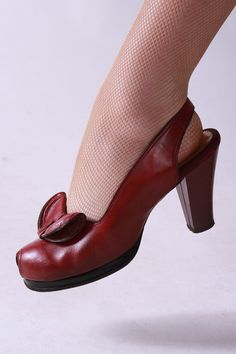 Vintage 1940s Platform Heels in Deep Red Leather with Peep Toe