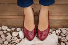 CIJ SALE 20 Off. Red Leather Women Shoes Flat Shoes by BangiShop