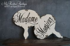 MADAME and MONSIEUR Signs | Mr and Mrs in French | Wedding Signs | Set of 2 | Paris Chic | Wedding Photo Props | Wooden Signs