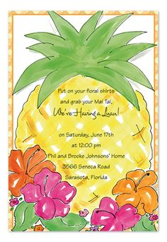 Hawaiian themed Invitation Template - Unique Hawaiian themed Invitation Template , Tropical Invitation Luau In 2019 Luau Theme Party, Tiki Party, Beach Party, Party Themes, Luau Birthday Invitations, Wedding Shower Invitations, Luau Wedding Receptions, Hawaiian Luau, Creations