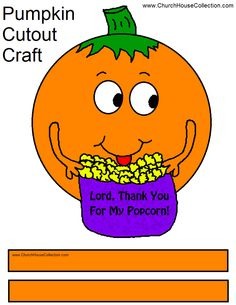 Church House Collection Blog: Lord, Thank You For My Popcorn - Pumpkin Craft