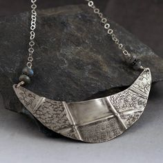 "@valerietylercollection One of a kind crescent statement necklace. Measuring well over 2"" wide, this necklace is made of #foldformed and hand-textured #sterlingsilver"