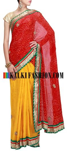 Buy Online from the link below. We ship worldwide (Free Shipping over US$100)  http://www.kalkifashion.com/half-and-half-bandhani-saree-in-red-and-yellow-embellished-in-gotta-patti-lace-only-on-kalki.html Half and half bandhani saree in red and yellow embellished in gotta patti lace only on Kalki