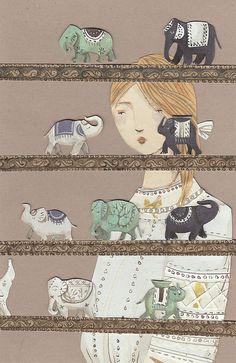Emma Block illustration on Creature Comforts - gorgeous! Art And Illustration, Elephant Illustration, Book Illustrations, Elephant Love, Elephant Art, Elephants Never Forget, Creature Comforts, Color Inspiration, Daily Inspiration