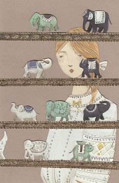 elephants by emma block, reminds me of my grandmother who collected elephants