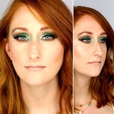 Green makeup on a gorgeous Redhead. Nude lips. Bold eyes. Green eyeshadow.