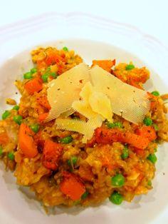 Farro Risotto with Butternut Squash  Peas - Chef Kerri Anne http://chefkerrianne.blogspot.com/2014/03/recipe-farro-risotto-with-butternut.html