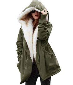 25a5d530698 Parkas con Capucha Pelo Sintetico Abrigos Largos Mujer Anorak Acolchado  Largas Chaquetas Cazadoras Abrigo para Dama