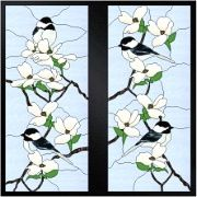 dogwood stained glass patterns doors | Stained Glass Cabinet Door Pattern Chickadees In Dogwood