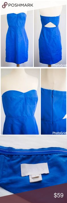 """J.Crew Rory Strapless Dress in Classic Faille Excellent, pre-owned condition. A little wrinkly, but otherwise in fabulous condition. There is also a loose thread towards the bottom hem flap (see photo). Otherwise, this dress is in fabulous condition.  Measurements: Chest (armpit to armpit): 16.75"""" Waist: 14"""" Length (armpit to hem): 28""""  Our classic faille has a subtle sheen and a fluid structure that tailors and drapes beautifully. •Cotton/viscose •Fitted silhouette •Interior boning…"""