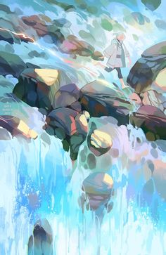 Image discovered by Find images and videos about girl, beautiful and art on We Heart It - the app to get lost in what you love. Japon Illustration, Digital Illustration, Wow Art, Environment Concept Art, Environmental Art, Art Background, Pretty Art, Aesthetic Art, Landscape Art