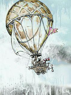Vintage illustration Fine art print drawing mixed media watercolor artwork Old balloon. Illustration Photo, Balloon Illustration, Vintage Art Prints, Fine Art Prints, Vintage Artwork, Tatoo Travel, Arte Steampunk, Frida Art, Images Vintage