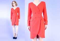 VINTAGE Red Dress 1990s Jacket Style Small by WearitWellvintage