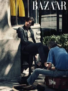 grey blazer with light t-shirt    Gong Yoo in Portugal for Harper's Bazaar
