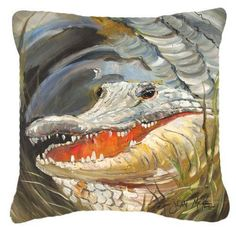 Alligator Canvas Fabric Decorative Pillow JMK1208PW1414