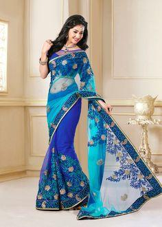 USD 93.63 Blue Embroidered Wedding Saree  39848