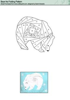 Bear Iris Folding Pattern on Craftsuprint designed by Sarah Edwards - Bear Iris Folding Pattern - Now available for download!