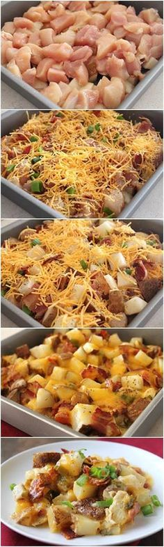 Need a dinner idea? Loaded baked potato and chicken casserole! This recipe does NOT use a can of soup!