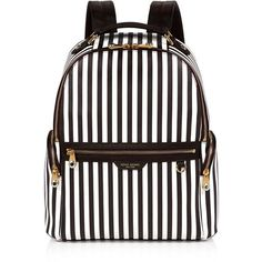 Henri Bendel West 57th Centennial Stripe Travel Backpack (€360) ❤ liked on Polyvore featuring bags, backpacks, backpack, accessories, handbags, bolsas, laptop pocket backpack, striped backpack, travel daypack and white backpacks