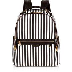 Henri Bendel West 57th Centennial Stripe Travel Backpack featuring polyvore, women's fashion, bags, backpacks, laptop rucksack, travel bag, white backpack, backpack travel bag and striped backpack
