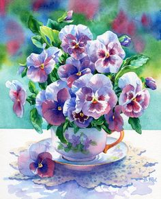 Pansies in a teacup-- two of my favorite things together!