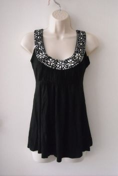 C. Oliver Black Sleeveless Flower Bead Embellished Stretch Knit Top Sz S #COliver #TankCami #EveningOccasion